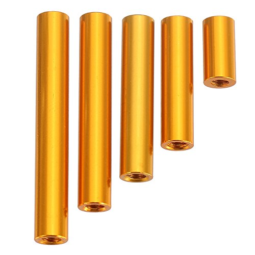 Alamor Suleve M3Ar6 M3 Aluminium Alliage Intercalaire Goujons 10-35 mm Or Rond Pcb Board Entretoises 10Pcs-25 mm