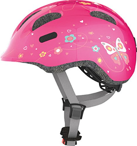 Abus Mädchen Smiley 2.0 Fahrradhelm, Pink Butterfly, 45-50 cm