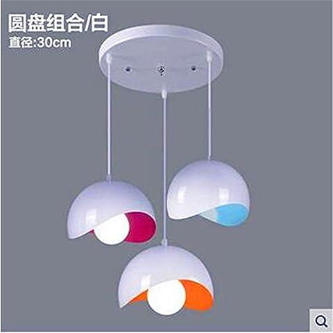 XJBIl Nordic moderno minimalista americano ristorante salone luminoso salone, studio lampadari bedroomIron disco diametro 30cm bianco,