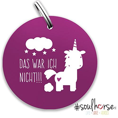 """Pferde Glücksmarke – Spruchmarke """"#Das war ich nicht!!!"""" mit Einhorn rund in lila von Soulhorse fürs Halfter, Trense und Zaumzeug"""