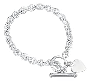 Elements Silver B066 Ladies' Heart Tag with T-Bar Sterling Silver Bracelet