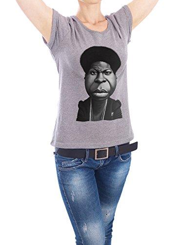"""Design T-Shirt Frauen Earth Positive """"Nina Simone"""" - stylisches Shirt Menschen Musik von Rob Snow Grau"""