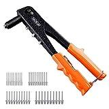 TACKLIFE Pop Rivet Gun, River Gun with 40Pcs Metal Rivets, 4 Replaceable Nozzles for Metal, Wood and Plastic - HHR1A