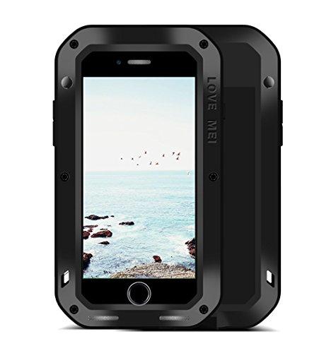 iPhone 8 Plus / iPhone 7 Plus Hülle, Love Mei Metal Äußerste [Aluminium] und Anti-Schock Silikon [Anti-Schock] mit Displayschutzfolie [Kristall Gorila Glass] Staubdicht Geeignet - Schwarz