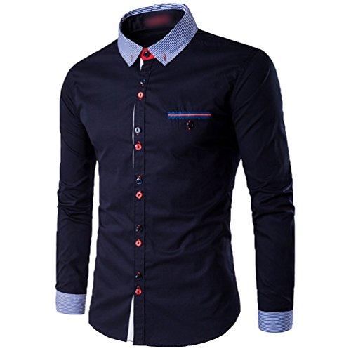 CHENGYANG Herren Hemd Slim Fit Freizeitbekleidung für Business Hochzeit Fest Langarm Shirts (Dunkel Blau, 5XL)