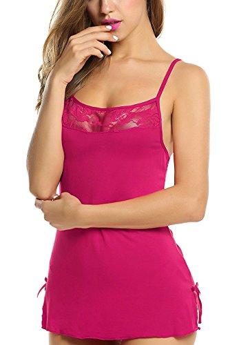 Bomshel Women Babydoll Nightwear Sleepwear Lingerie Full slip Babydoll with panty (Rose)