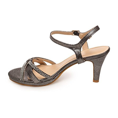 La Modeuse - Sandales effet croco Gris