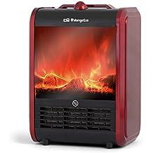 Orbegozo CM 9015 – Termoventilador, chimenea eléctrica efecto fuego real, 1500 W, dos niveles de potencia de calor, posición efecto fuego real, color rojo y negro