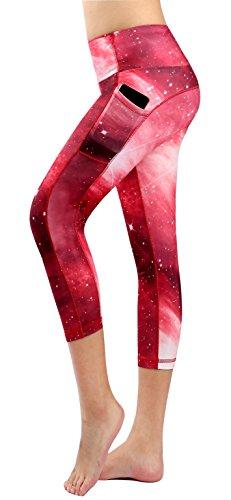 Munvot Legging Capri Pantacourt de Sport Femme Coupe Genoux Amincissant - avec Poche Yoga Fitness Jogging - Multicolore-86 - XL