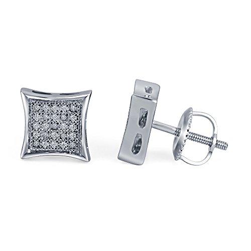 lilu Jewels Hip Hop en argent sterling 925Diamant Caved Kite forme boucles d'oreilles clous Vis Arrière White Platinum Plated