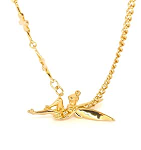 Disney Couture Gold Reclining Tinkerbell with Stars Necklace