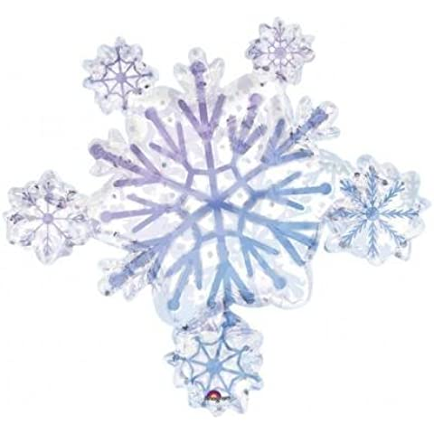 Uninflated Snowflake Cluster Supershape Foil Balloon by notjustballoons