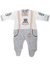 RAIKOU Unisex Baby Strampler Schlafanzug Overall aus Nicki mit Süßer Stickerei