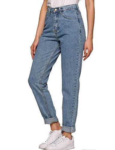 Teaio Hose - Damen Jeans Boyfriend High Waist Jeanshose Locker Lang Boyfriend Jeans Blau Hose Jeans Straight Lässig Weich XS-3XL