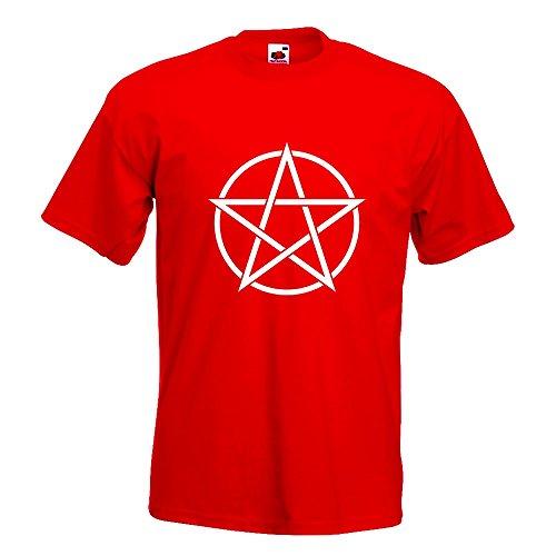 KIWISTAR - Pentagramm T-Shirt in 15 verschiedenen Farben - Herren Funshirt bedruckt Design Sprüche Spruch Motive Oberteil Baumwolle Print Größe S M L XL XXL Rot