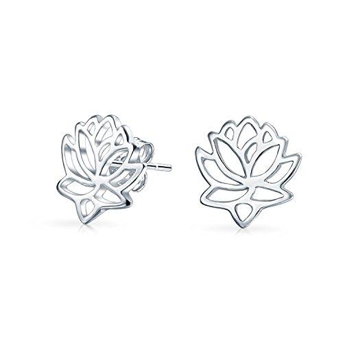 Bling Jewelry 925 Silber Ausschnitt Lotus-Blumen-Bolzen-Ohrringe