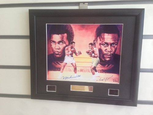 Muhammad Ali V Joe Frazier signed autograph photo and film cell framed boxing sports memorabilia