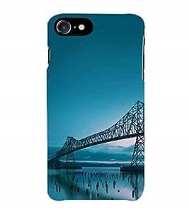 Fuson Designer Back Case Cover for Apple iPhone 7 Plus (Logo View Window Case) (Bridge Clear Blue Sky Blue Blue Bridge River Bridge)