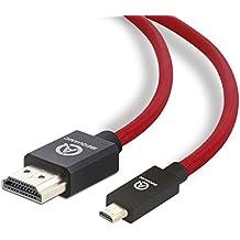 IBEQUANIC - Micro HDMI (tipo D) a HDMI (tipo A) 1m,Cable de HDMI a micro HDMI de alta velocidad, con Ethernet, 3D y canal de retorno de audio (3 ft, Rojo Negro)