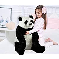 "Large 22"" Soft Plush Sitting Panda Bear Toy White & Black Stuffed Teddy Kids Toy"