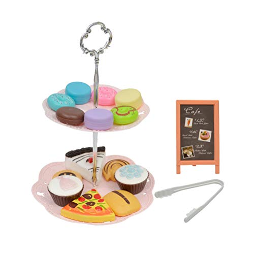 Toyvian Afternoon Tea Play Food Dessert Stand Toy Dessert Tower Toy Simulation Cute Macaron Dessert Afternoon Tea Dessert Playsets for Kids Children