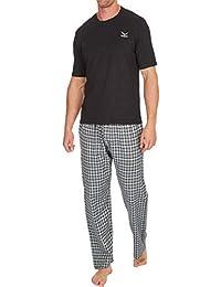 eb16abf870 Mens Pyjamas Set Short Sleeve Top   Woven Long Bottoms Pants
