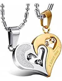 University Trendz Stainless Steel I Love You Blue and Gold Pendant