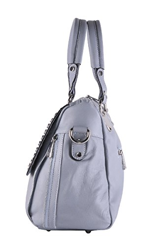 BORDERLINE - 100% Made in Italy - Exklusive weiche Tasche Frau echtes Leder mit Nieten - JESSICA Himmlisch