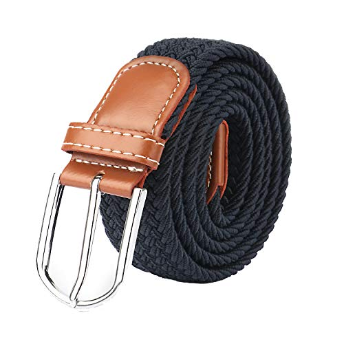 Cinturón elástico trenzado de calidad Mr con hebilla de cuero cubierta, cinturones de cincha de 106,7 cm, color azul y negro Azul azul marino 80