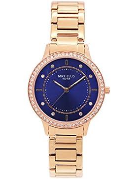 Mike Ellis New York Damen-Armbanduhr Blueline Analog Quarz Edelstahl SM4612B