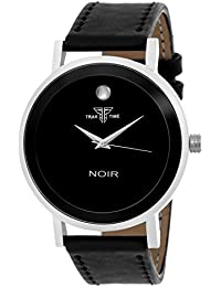 Traktime NOIR Analogue Black Round Dial Wrist Watch For Men / Women With Black Leather Strap