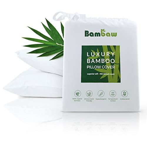 Bambaw Bambus Kissenbezüge | Pillow Cover |Bambus Kissen Bezüge | Temperaturregulierend | Anti Allergie Kissenbezug | Atmungsaktiver Stoff | Klassisch weiß | 50x75