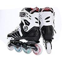 Detectoy 1 par de Patines 8 Ruedas Full Flash LED Ruedas Patines Fancy Straight Adultos Roller Skates Profesionales Hombres y Mujeres Patines Zapatos