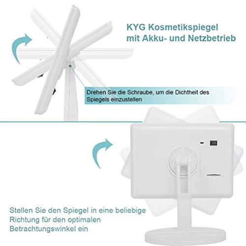 KYG Schminkspiegel mit 16 LEDs Beleuchtung, USB Wiederaufladbarer Kosmetikspiegel,  batteriebetrieber Tischspiegel, dimmbarer Make up Spiegel Standspiegel, Weiß - 2