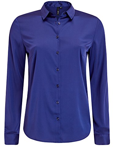 oodji Collection Damen Taillierte Satin-Bluse Blau (7500N)