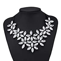 GSOLOYL Collar Statement Necklaces Jewelry Shining Rhinestone Water Drop Flower Bib Bar Necklaces for Women Collier (Metal Color : Clear)