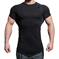 BROKIG Mens Bodybuilding Muscle Shirt,Gym Workout Fitness Short Sleeves T-Shirt (S, Black)