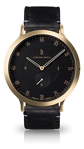 Lilienthal Berlin - Made in Germany - Die neue Uhr aus Berlin. Modell L1, Edelstahl Gehaeuse (Gehäuse: gold / Zifferblatt: schwarz / Armband: schwarz, klein 37,5mm)