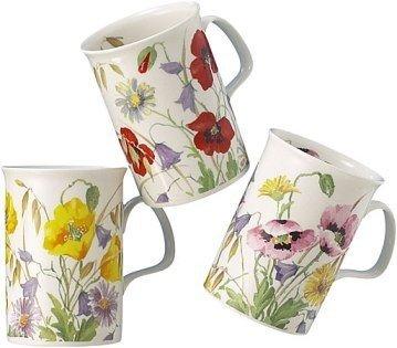 Roy Kirkham English Meadow Set Of Three Assorted Mugs by Roy Kirkham Meadow Flowers Bone China