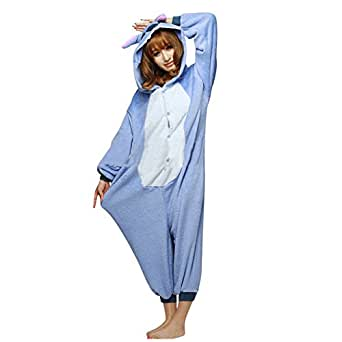 Moollyfox Unisexe Anime Halloween Cosplay Kigurumi Pajamas Onesie Fleece Hoodies Costume de Deguisement Combinaison Adulte Ensemble de Pyjama Motif animaux (L, Point Bleu)