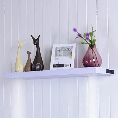 COSTWAY Wandboard mit LED Beleuchtung Lichtboard Leuchtregal Wandleuchte Wandregal Dekoregal Wandablage Hängeregal Schweberegal Holzregal Regal beleuchtet (120cm weiß)