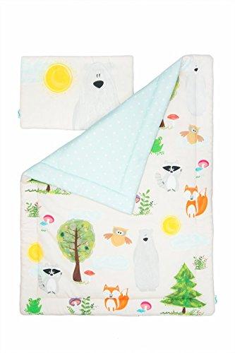 Kinder Baby Boy LUXURY Gitterbett Kinderzimmer Bettwäsche Set mit Wald Tiere (Baby-bettwäsche-sets Wald)
