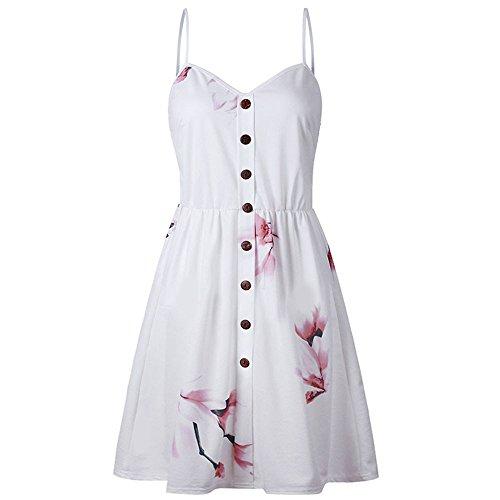 Tyoby Damen Schlinge Kleid Blumenmuster Ärmellos V-Ausschnitt Button Down Sommer Beach Swing Princess Dress(Weiß, S)