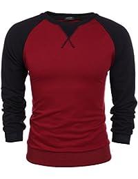 Coofandy T-shirt à Manches Longues Homme Coton Casual Col Rond Contrasté Taille S-XXXL