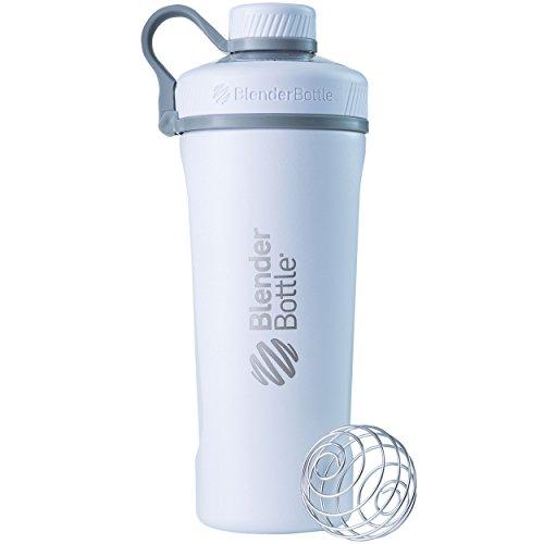 BlenderBottle Radian Edelstahl , Wasserflasche , Protein Shaker, Diät Shaker, Fitness Shaker , BPA frei , mit BlenderBall , Isolierflasche , Doppelwandig - Weiß (770ml - skaliert bis 530 ml)