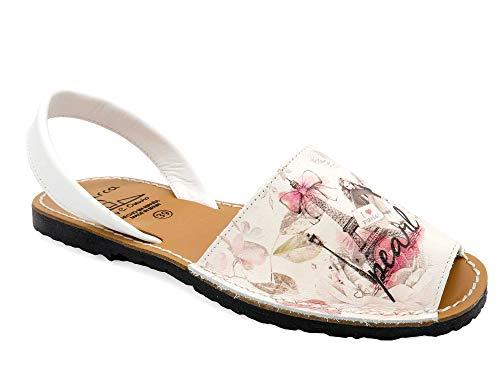 Avarca - Made In Spain - Damen Echt-Leder Sandalen mit Eifelturm Paris Motiv - schöne Bequeme offene Menorca Avarcas Sommer-Schuhe Strandschuhe Urlaub-Schuhe - 331 beige-Paris Gr. 38