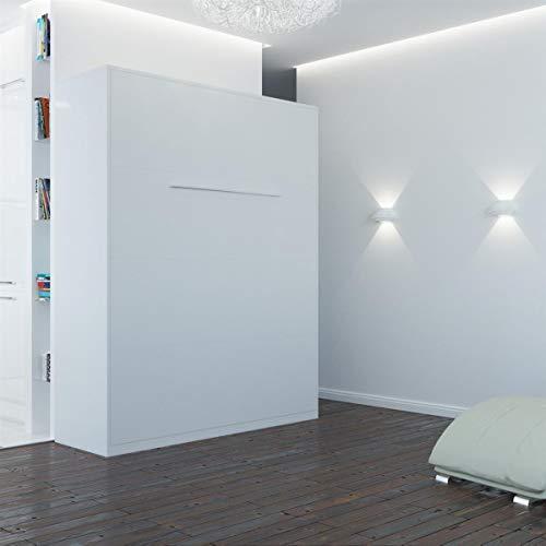 SMARTBett Standard 160×200 Vertikal Weiss Komfort Lattenrost Schrankbett | ausklappbares Wandbett, ideal geeignet als Wandklappbett fürs Gästezimmer, Büro, Wohnzimmer, Schlafzimmer - 2