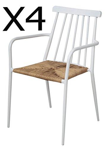 PEGANE Lot de 4 chaises en Aluminium Coloris Blanc - Dim : 84 x 53x 57 cm