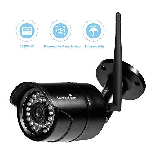 Videocamera di Sorveglianza WIFI Esterno, Wansview Telecamera IP 1080P con Sensore di...