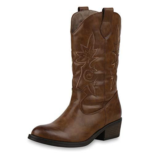 SCARPE VITA Damen Cowboystiefel Gefütterte Western Stiefel Cowboy Boots 173458 Hellbraun 37